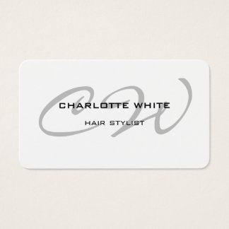 Hair Stylist Monogram Minimalist Modern White Business Card