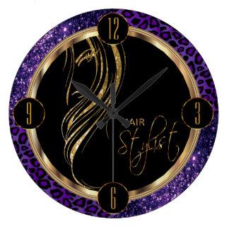 Hair Stylist Purple Glitter and Leopard Print Large Clock