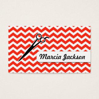 hair stylist red chevron scissors stripes business card