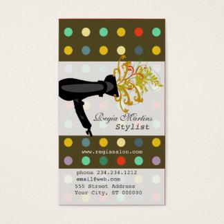 Hair Stylist Retro Polkadot Salon Business Card