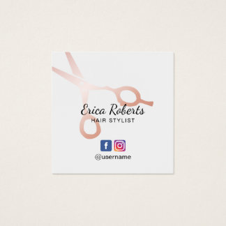 Hair Stylist Rose Gold Scissor Salon Social Media Square Business Card