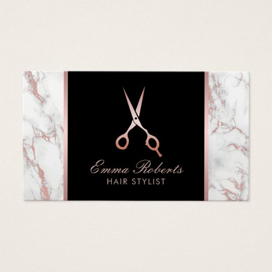 Hair Stylist Rose Gold Scissor Trendy Marble Business Card