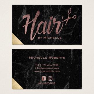 Hair Stylist Rose Gold Script Modern Marble Salon Business Card