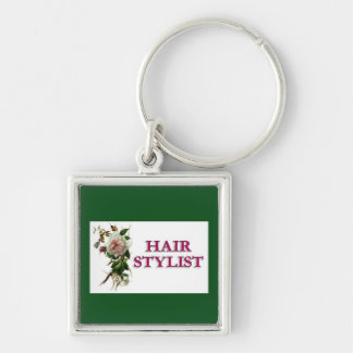 Hair Stylist Rose Silver-Colored Square Keychain
