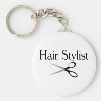 Hair Stylist Scissors Basic Round Button Keychain