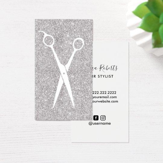 Hair Stylist Silver Glitter Minimalist Scissor Business Card