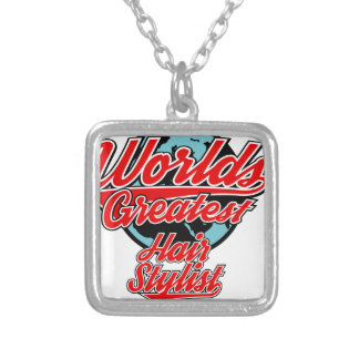 hair stylist silver plated necklace