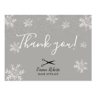 Hair Stylist Silver Snowflakes Holiday Thank You Postcard