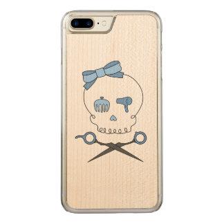 Hair Stylist Skull & Scissor Crossbones - Blue Carved iPhone 7 Plus Case