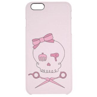 Hair Stylist Skull & Scissor Crossbones - Pink 2 Clear iPhone 6 Plus Case