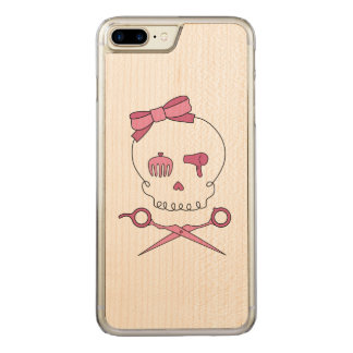 Hair Stylist Skull & Scissor Crossbones - Pink Carved iPhone 7 Plus Case