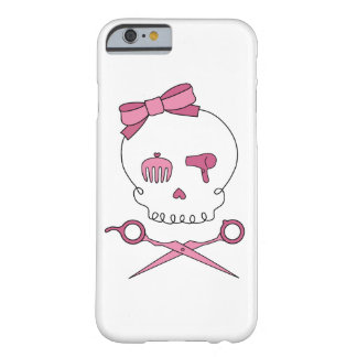 Hair Stylist Skull & Scissor Crossbones - Pink Barely There iPhone 6 Case
