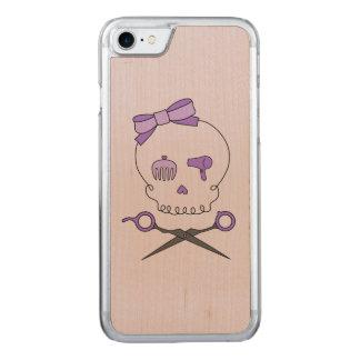 Hair Stylist Skull & Scissor Crossbones - Purple 2 Carved iPhone 7 Case