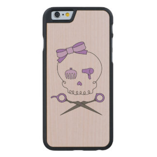 Hair Stylist Skull & Scissor Crossbones - Purple 2 Carved® Maple iPhone 6 Case
