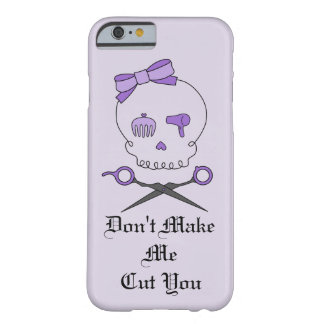 Hair Stylist Skull & Scissor Crossbones - Purple 4 Barely There iPhone 6 Case