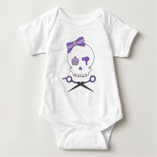 Hair Stylist Skull & Scissor Crossbones - Purple Baby Bodysuit