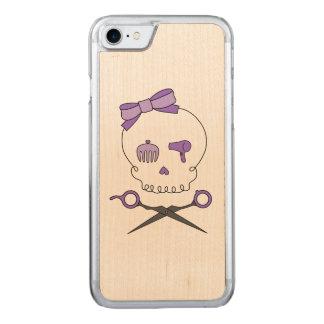 Hair Stylist Skull & Scissor Crossbones - Purple Carved iPhone 7 Case