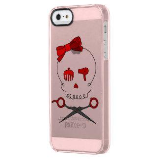 Hair Stylist Skull & Scissor Crossbones - Red 2 Clear iPhone SE/5/5s Case