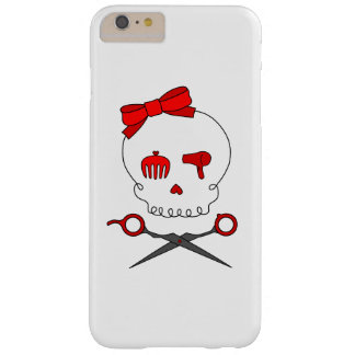 Hair Stylist Skull & Scissor Crossbones - Red Barely There iPhone 6 Plus Case