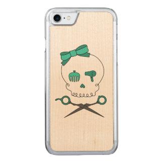 Hair Stylist Skull & Scissor Crossbones -Turquoise Carved iPhone 7 Case