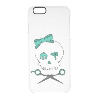 Hair Stylist Skull & Scissor Crossbones -Turquoise Clear iPhone 6/6S Case