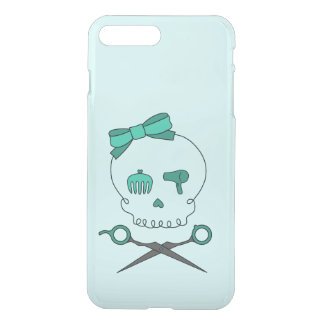 Hair Stylist Skull & Scissor Crossbones -Turquoise iPhone 7 Plus Case