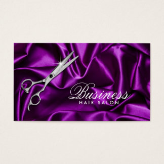 Hair Stylist Sleek Violet Hair Salon Business Card