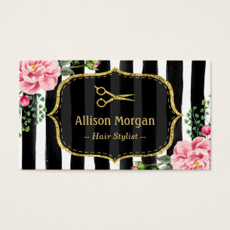 Hair Stylist Stunning Floral Gold Glitter Stripes Business Card