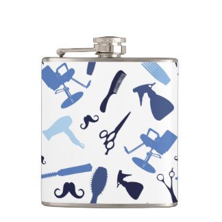 Hair stylist tools pattern hip flask