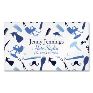 Hair stylist tools pattern Magnetic business card