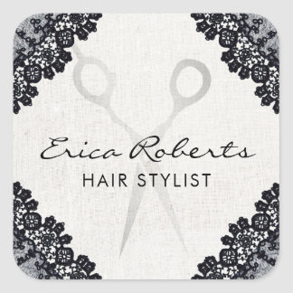 Hair Stylist Vintage Black Laced Hair Salon Square Sticker