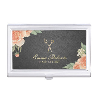 Hair Stylist Vintage Floral Elegant Black & Gold Business Card Holder