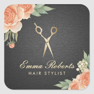 Hair Stylist Vintage Floral Elegant Black & Gold Square Sticker