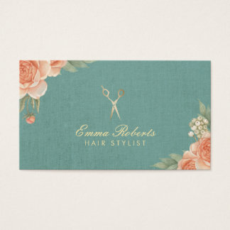 Hair Stylist Vintage Floral Elegant Linen Business Card