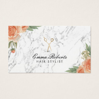Hair Stylist Vintage Floral Elegant Marble Salon Business Card