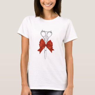 Hair Stylist Vintage Scissor & Red Bow T-Shirt