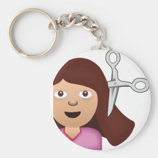 Haircut Emoji Basic Round Button Keychain