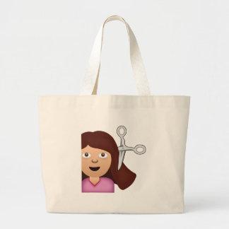 Haircut Emoji Large Tote Bag