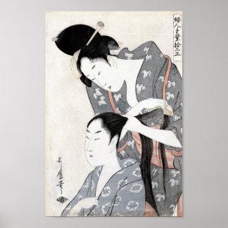 Hairdresser  by Kitagawa Fine Art Print