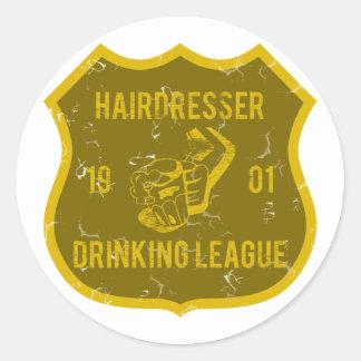 Hairdresser Drinking League Round Sticker