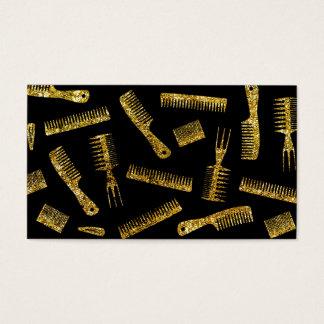 Hairdresser Hair Stylist Gold Glitter Tools Business Card