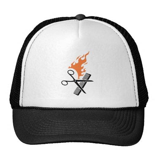 Hairdresser on fire mesh hat
