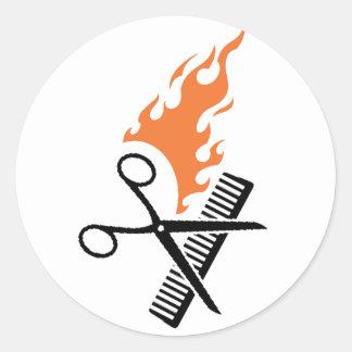Hairdresser on fire round sticker