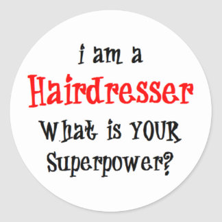 hairdresser round sticker