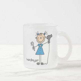 Hairdresser Stick Figure 10 Oz Frosted Glass Coffee Mug
