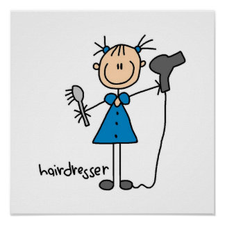 Hairdresser Stick Figure Poster