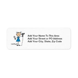 Hairdresser Stick Figure Return Address Label