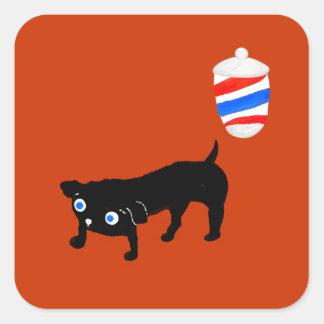 Hairdresser's black dog square sticker
