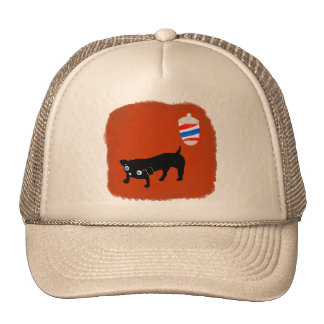Hairdresser's black dog trucker hat