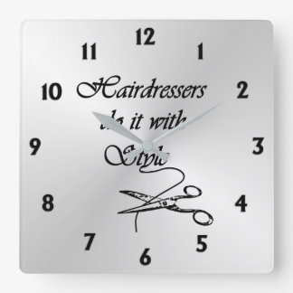 Hairdressers  Twelve Numbers Square Wall Clock